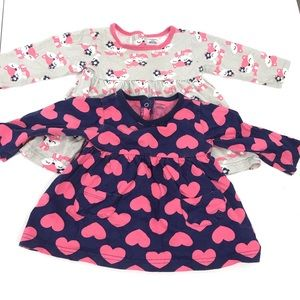 Carter's 2 Long Sleeve Tops Hearts & Foxes